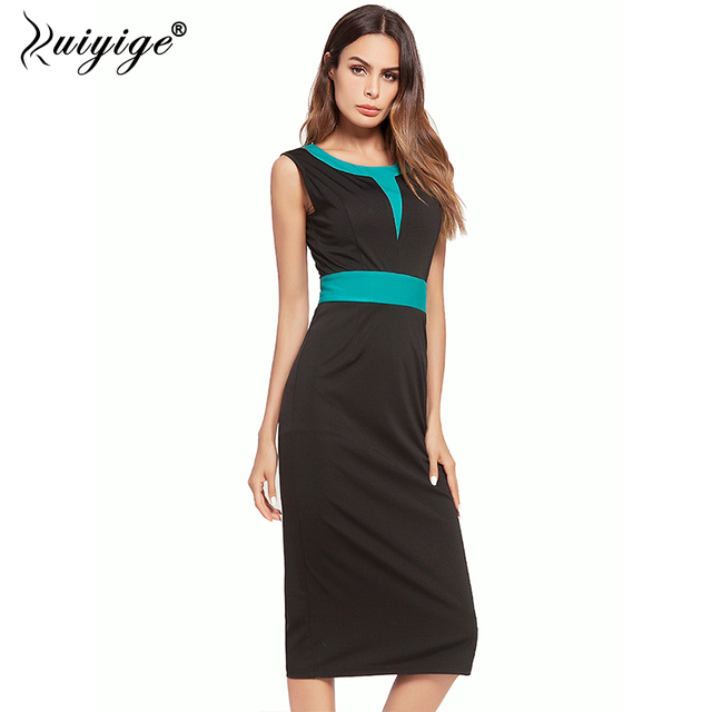 b9b22a88e3e26 US $16.95 46% OFF|Ruiyige 2018 New Dresses Women Sexy Going Out Elegant OL  Office Vintage Patchwork Sleeveless Party Bodycon Pencil Dress-in Dresses  ...