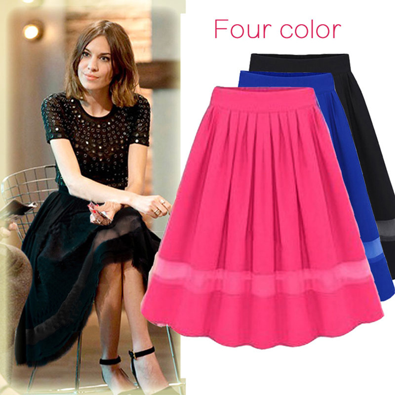 High Waist Pleated Skirts 2017 Women Chiffon Tulle Midi Knee Length Skirts Fashion Summer Black Casual Skirts Faldas Saia
