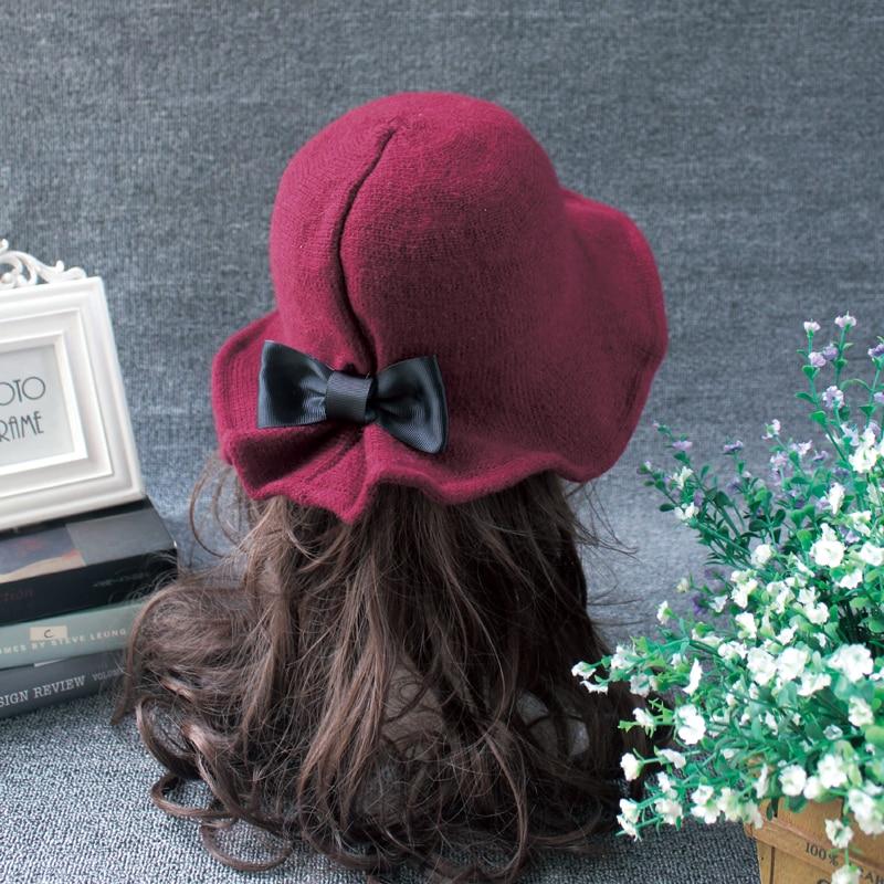 New Winter 6 Colors Ladies Warm Hats Women Soft Vintage Wool Felt Bowler Fedora Hat Floppy