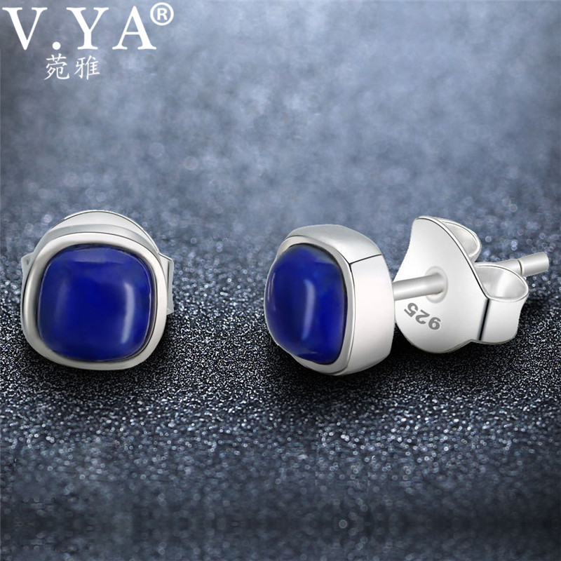 Natural Lapis Lazuli Earring For Women 925 Sterling Silver Ball Style Shape Round Push Back Jewelery Gift