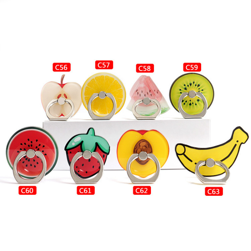 360 Rotating Ring Holder Stand Universal Style 3D Cartoon Fruit Food Summer Support Finger Bracket Smart Phones Stylish Fanny
