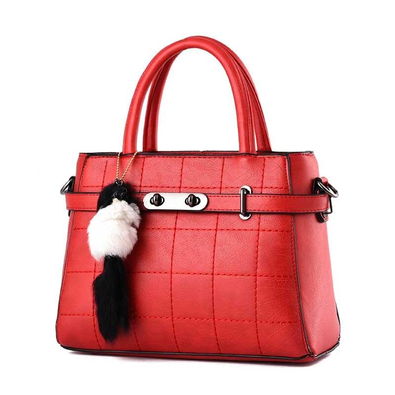 Feminine Leather Fashion Female Tassel Fur Bucket Bag Designer Famous Brand Luxury Bags Solid Women Pu