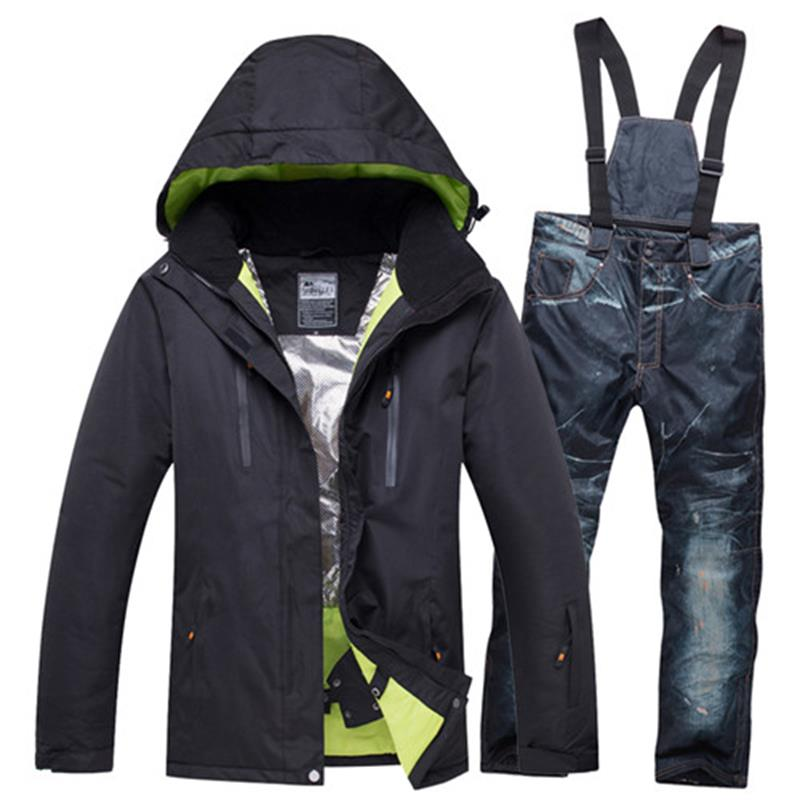 Brand Ski Jacket Pant Men Thermal Winter Snow Ski Suits Man Waterproof Snowboard Clothing Male Skiing Snowboarding Set