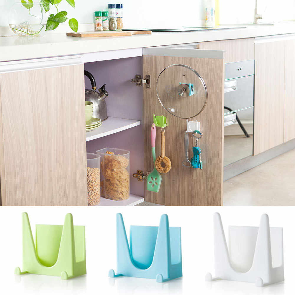 2pc Wall Housekeeper Plastic Kitchen Pot Pan Cover Shell Cover Sucker Tool Bracket Storage Organizer Rack Hanger