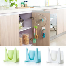 2pc Wall Housekeeper Plastic Kitchen Pot Pan Cover Shell Cover Sucker Tool Bracket Storage Organizer Rack Hanger(China)