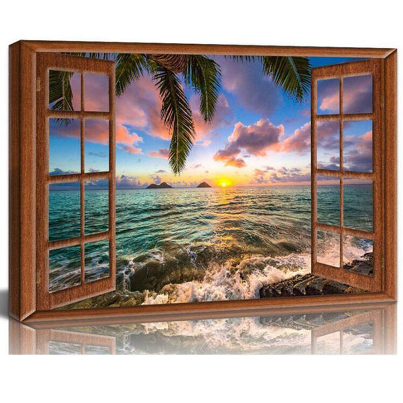 Full Square Round DIY Diamond Painting Window Frame Style Beautiful Lanikai Beach Hawaii Sunrise 5D Diamond Embroidery JS5090 image