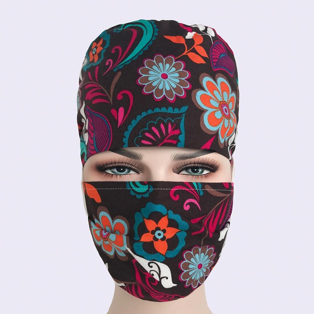 Hospital Pet Clinic Medical Caps Women Cotton Print Doctor Surgical Cap Adjustable Nurse Scrub Hat Masks Lab Clinic Hat New