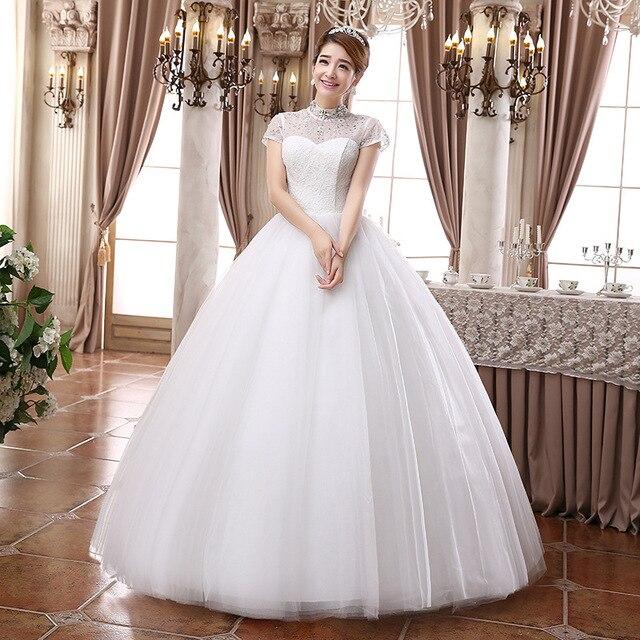 Aliexpress New half Turtleneck Short Sleeve Wedding Dresses,Princess ...