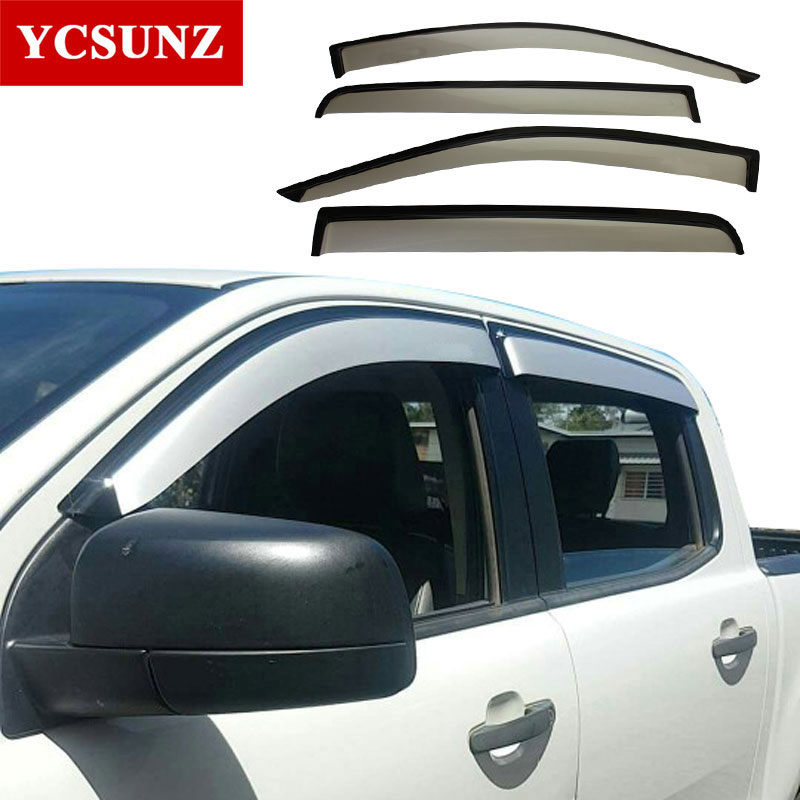Side Window Deflectors For Ford Ranger Silver Color Car Wind Deflector Sun Guard For Ford Ranger