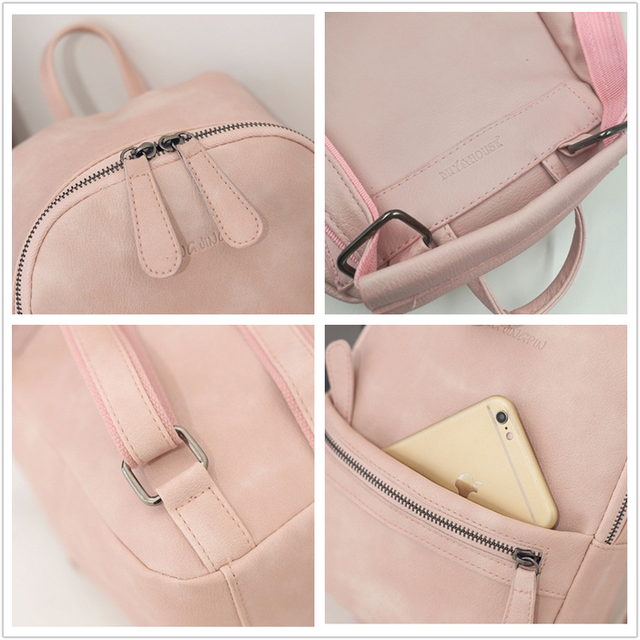 Miyahouse Korea Style Women Backpack Fashion Candy Color Mini Backpacks  Ladies Casual PU Leather Backpack Female c37dd9d70a