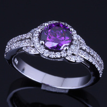 Awesome Round Purple Cubic Zirconia White CZ 925 Sterling Silver Ring For Women V0099 awesome big long golden citrine white cz engagement 925 silver ring sz 7