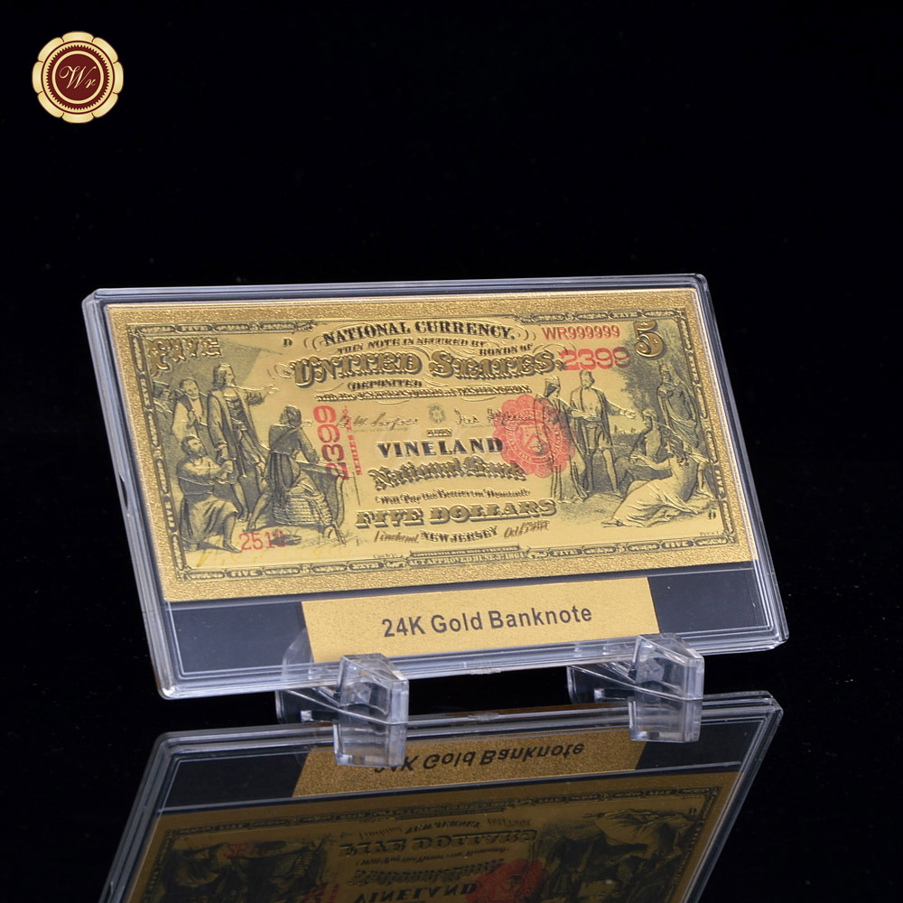 WR Quality Gold Banknote 1875 Years $<font><b>5</b></font> <font><b>Dollar</b></font> US National Note Plastic Money <font><b>Bill</b></font> Nice Details + Free Gifts Display Frame image