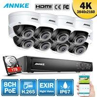 ANNKE 8CH H.265 4 K со сверхвысоким разрешением Ultra HD, poe, сетевые видео наблюдения NVR безопасности Системы 8 шт. 8MP IP67 всепогодный металлическая камер