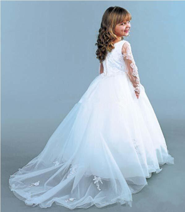 Elegant White Flower Girls Dress 2018 Ball Gown Long Sleeves Applique Lace Princess First Communion Dress Size 2-16Y