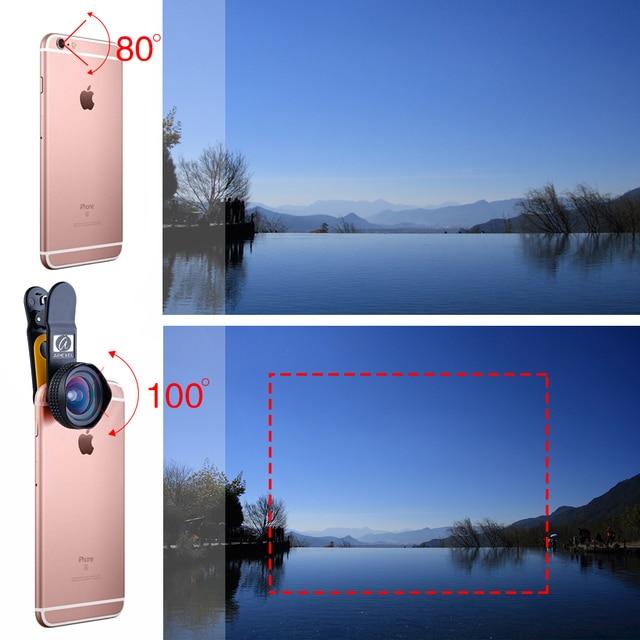 Apexel Optic Pro Portrait lens 18MM HD Wide Angle Camera Lens kit More Landscape for iPhone 7 6s plus & iphone 5 universal clip 5
