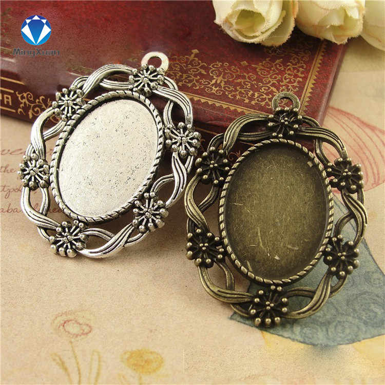 10pcs/lot Antique silver/Antique Bronze Tone Oval filigree Frame Cameo Settings Fit 18*25mm