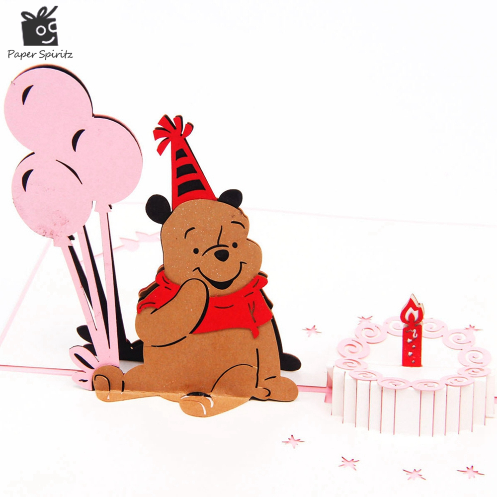 Cute Bear With Balloon Origami Paper Arts And Crafts 3d Laser Cut