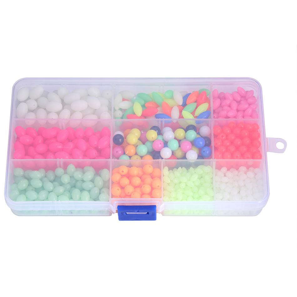 1000pcs Luminous Fishing Beads Plastic Fishing Tackle Accessories Glow in dark with Storage Box glow in dark plastic navel belly body piercing bars rings multicolored 7 pcs