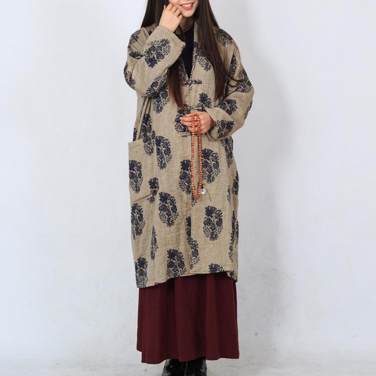 Chinese Women Cotton Old Leaves Print Flowers Coat Jackerts Turn Down Collar Plate Buttons Long Sleeve