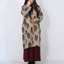 Китайских Женщин Хлопок Старые Листья Печати Цветы Пальто Jackerts Отложным Воротник Плиты Кнопки С Длинным Рукавом Этническая Одежда