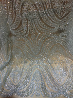 2017 New Design Silver African High Quality Glitter Sequins Tulle Mesh Lace Fabric For Dress Wedding