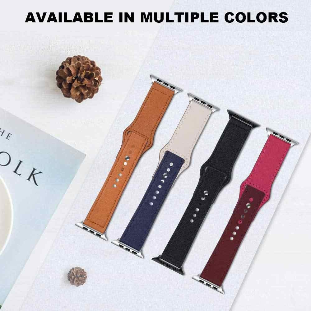 JANSIN مزدوجة اللون حلقة من جلد ل apple watch سلسلة 5/4 3/2/1 جلد طبيعي الرياضية حزام ل iWatch 38 مللي متر 42 مللي متر 40 مللي متر 44 مللي متر