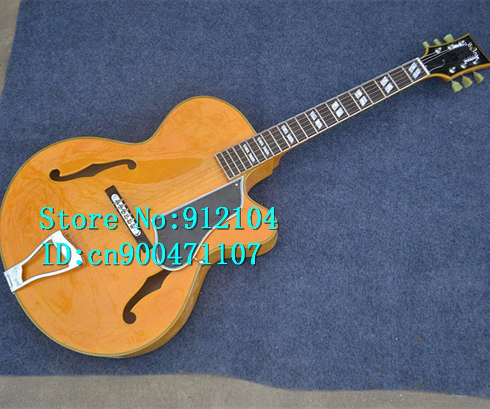 free shipping new arrived hollow F hole electric guitar or acoustic guitar in yellow with mahogany body made in China F-3056 free shipping new hollow electric guitar with mahogany body and chrome hardware in orange for jazz music made in china f 3079