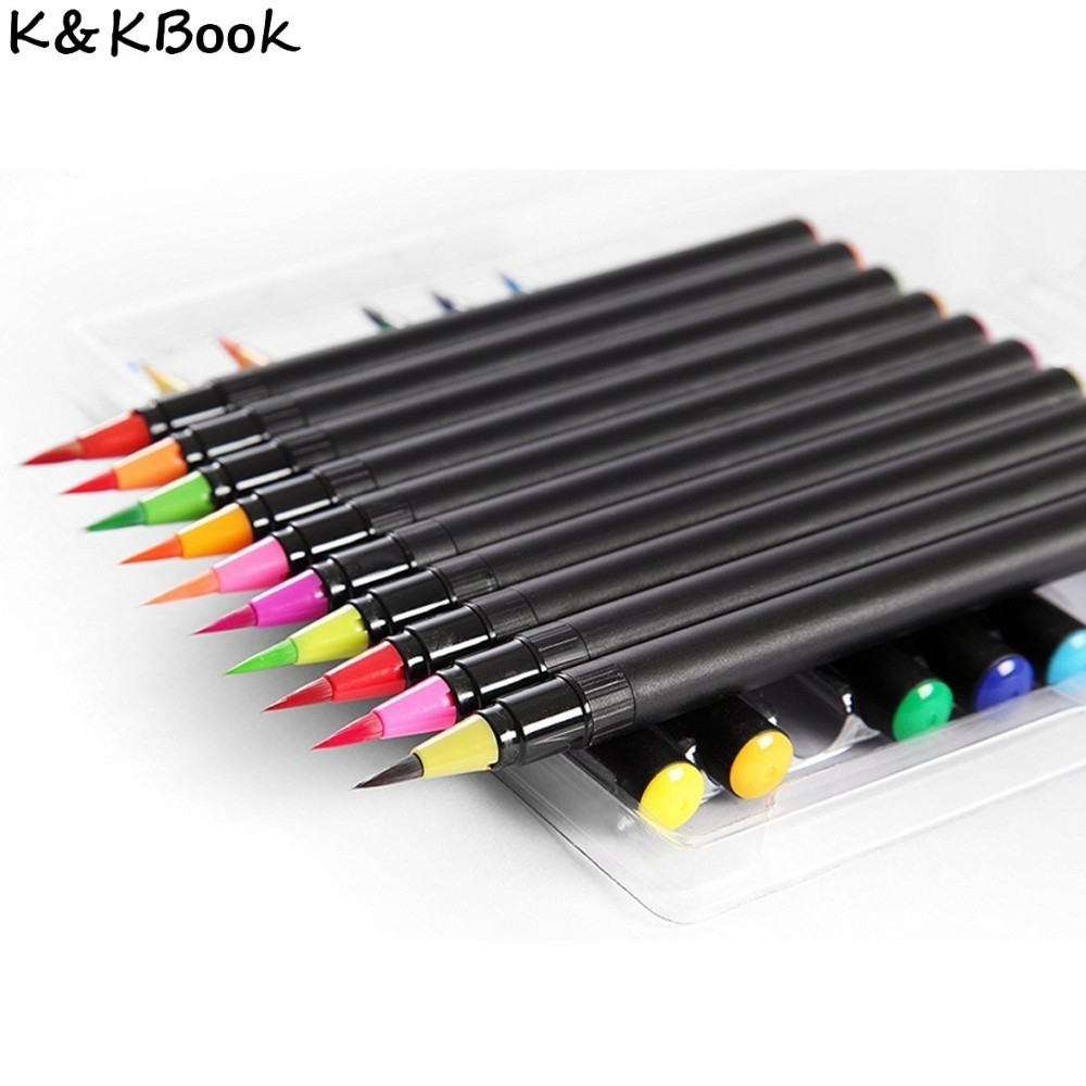 K&KBOOK 20 Colors Calligraphy Pen Fabric Brush Pen Watercolor Art Markers Painting Sketch Marker for Animation Manga Drawing promotion touchfive 80 color art marker set fatty alcoholic dual headed artist sketch markers pen student standard