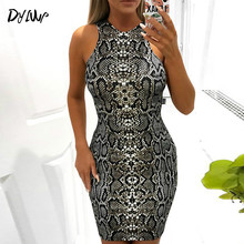 Womens Snake Print Dresses 2019 Summer Sexy Sleeveless Bodycon Dress Fashion Ladies Vintage Round Neck Mini Party