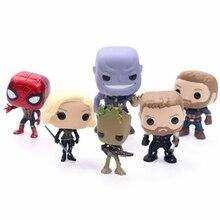 Funko Pop Мстители 3 Бесконечная война танос Тор, Черная Вдова Паук Капитан Америка фигурка Грут игрушки подарки для детей