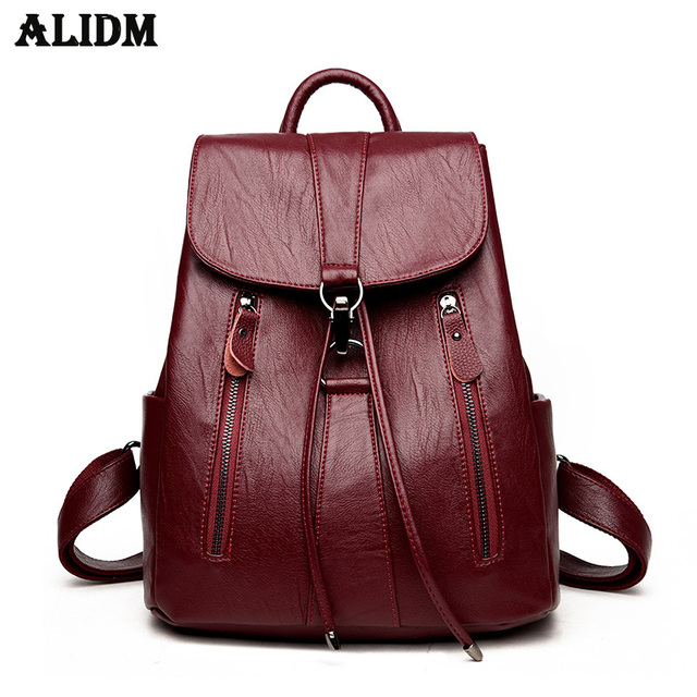 High Quality Leather Backpack Woman New Arrival Fashion Female String Bags Large Capacity School Bag