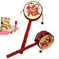 Bebê Chinês Tradicional Tambor Handbell Mão de Bell Rattle Musical Infantil Dom Brinquedos de Instrumentos Musicais