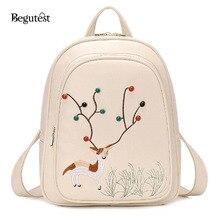 Высокое качество PU кожаные рюкзаки для девочек-подростков школьные сумки женщины вышивка рюкзаки моды путешествия рюкзак Mochila