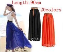 Женская шифоновая юбка с высокой талией длинная эластичная повседневная