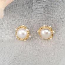 b51aa8ef4990 14KGF joyería de moda pendientes de oro hecho a mano perla de agua dulce  natural para