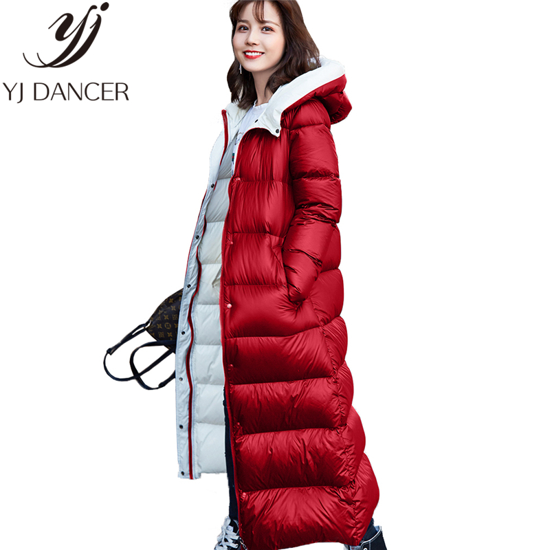 Down   Jacket Long Parkas   Coat   Female 2018 Fashion New Winter Hooded Thick Long   Down   jacket Warm Slim Jacket Tide Woman Ljj287