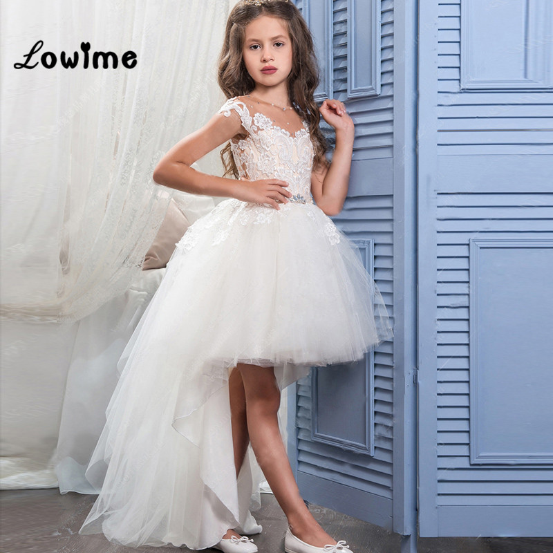 Princess Hi Lo First Communion   Dresses   For   Girls   Graduation Gowns Children Appliques Beaded   Flower     Girls     Dresses   Cheap