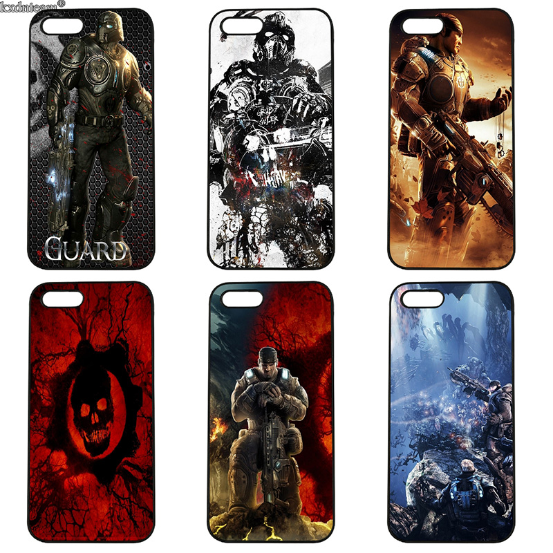 Gears Of War Skull Marcus Fenix Logo Phone Case Hard PC Cover for iphone 8 7 6 6S Plus X 5S 5C 5 SE 4 4S iPod Touch 4 5 6 Shell