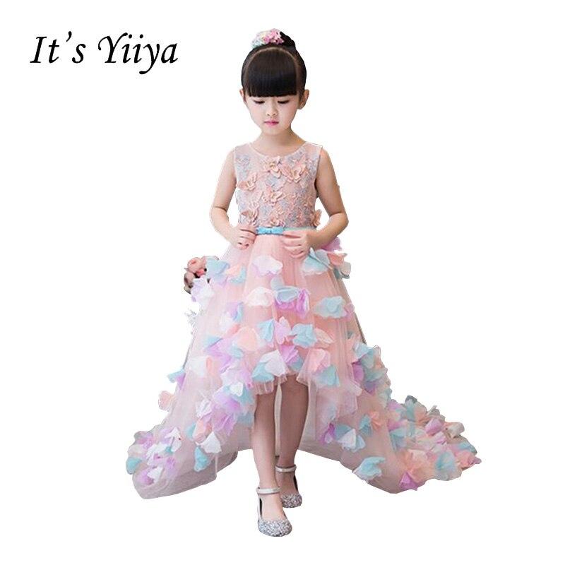It's YiiYa Backless Pink Chiffon Zipper Train Gown Appliques Trailing Lace   Flowers   Princess   Flower     Girls     Dress   Communion TS255