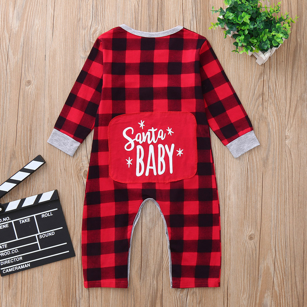 Christmas Jumpsuit Baby.Us 7 44 30 Off Newborn Christmas Jumpsuit Infant Baby Boys Girls Christmas Santa Xmas Letter Plaid Romper Jumpsuit Outfits In Rompers From Mother