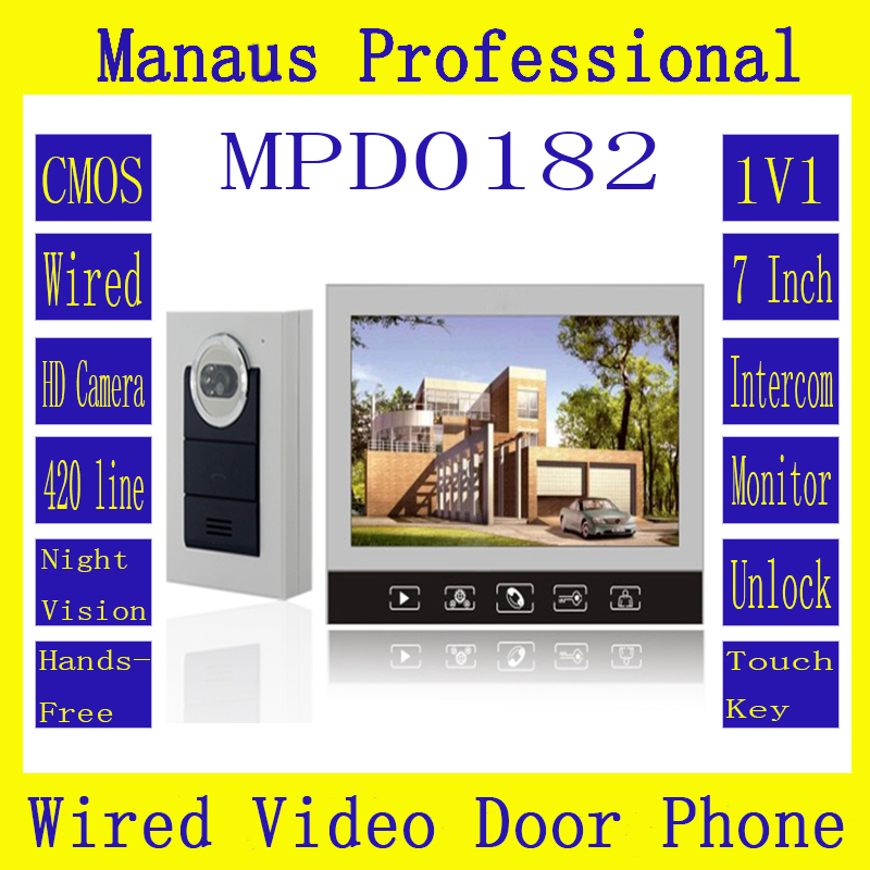 7'' Color Display Touch Keypad Screen 1V1 Handfree Video Intercom Motion Detector Action With Camera Support To 32G SDCard D182b