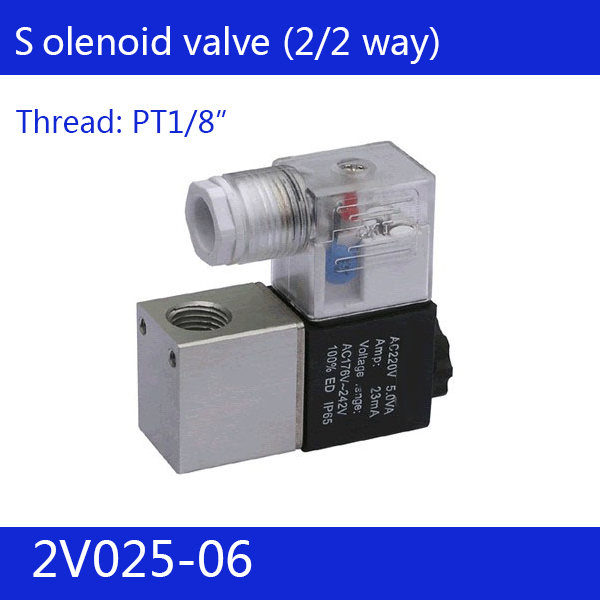 2V025-06 Free Shipping 1/8 2 Position 2 Port Air Solenoid Valves 2V025-06 Pneumatic Control Valve , DC12v DC24v AC110v AC220v g1 2 4v410 15 2 position 5 way air solenoid valves pneumatic control valve dc12v dc24v ac110v 220v