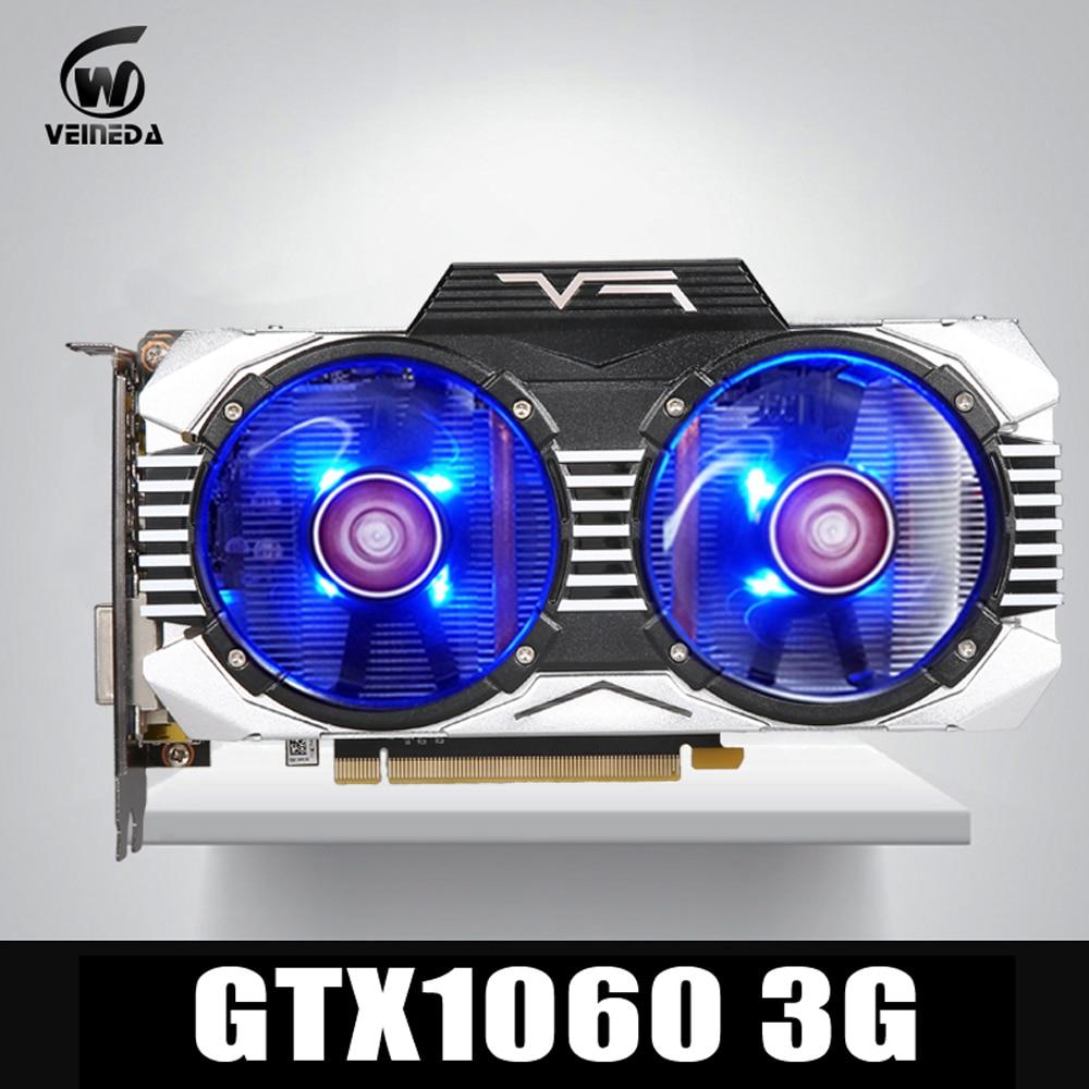 VEINEDA tarjeta gráfica GTX 1060 3 GB 192Bit GDDR5 GPU tarjeta de vídeo PCI-E 3,0 para nVIDIA Gefore Juegos de la serie más fuerte que GTX 1050Ti