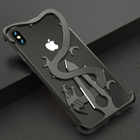 2019 Chinese Dragon Aluminum Armor Anti fall Case For iPhoneX XR XS Metallic Frame Bumper For iPhone Xs Max Sword Dragon 2 in 1