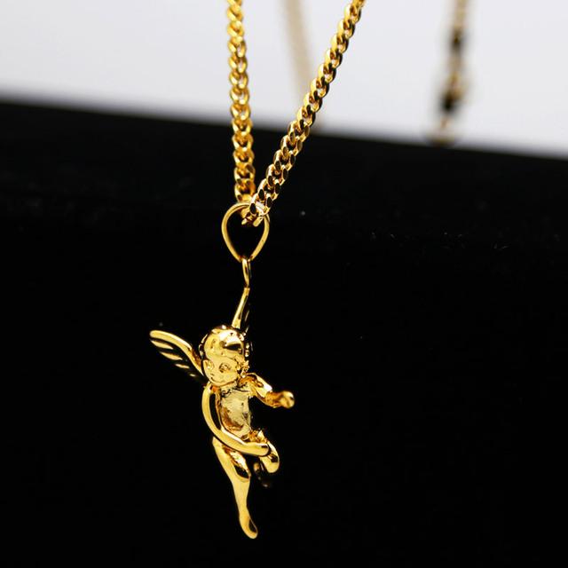 BEBÊ DO ANJO pingentes 60 cm de Comprimento de Alta Qualidade Hiphop Moda CHARME banhado a Ouro declaração cadeia colar HOMENS jóias bijuteria 2017