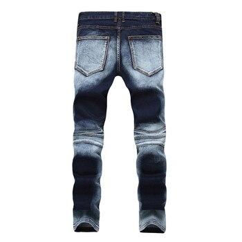 Dropshipping Ripped Men Biker Jeans Denim Slim Motorcycle Pants Men Classic Rap Hip Hop Skinny Designer Jeans Trousers Plus Size