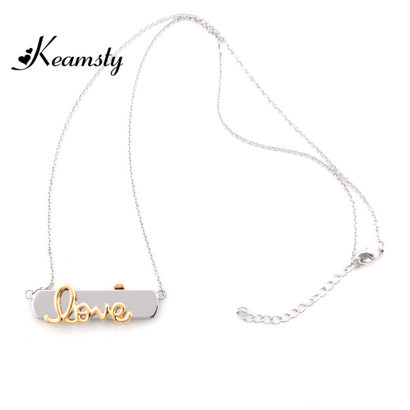 Keamsty New Arrival Zinc Alloy Keeper 60CM Silver Neckalce with Gold Love Keeper Charm Necklaces Set Special Gift for Women