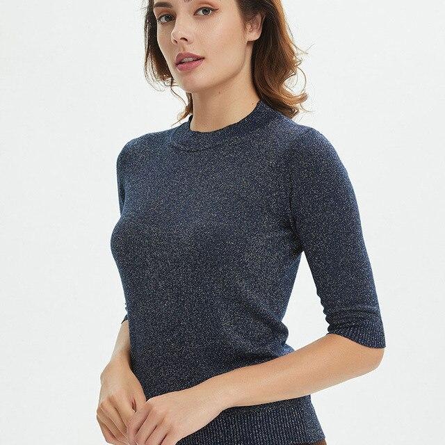 Sueter Mujer 2019 O Pescoço Brilhante Lurex Sweater Mulheres Casual Primavera Pullover Jumper De Malha Meia Manga Tops Preto Cinza Bege branco