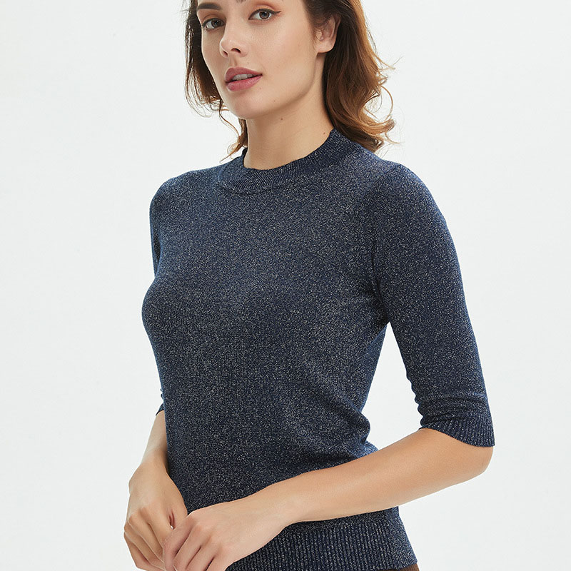 Sueter Mujer 2020 O Neck Shiny Lurex Sweater Women Casual Spring Pullover Knit Jumper Half Sleeve Tops Black Gray Beige White