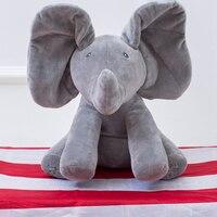 30cm Peek A Boo Elephant Plush Toy Electronic Flappy Elephant Play Hide And Seek Baby Kids